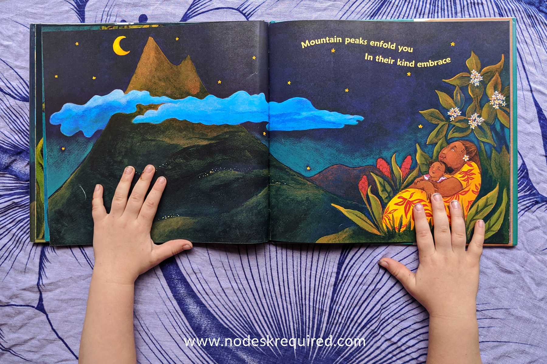 Hawaii Hula Lullaby book with preschooler hands